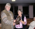 Receiving the newsletter shield for 2012 from Jean the newsletter editor