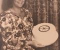 Carol Harris with 'LL CLUB'  2nd. Anniversary cake.